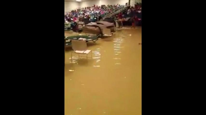 Video: Shelter overrun by Harvey floodwaters