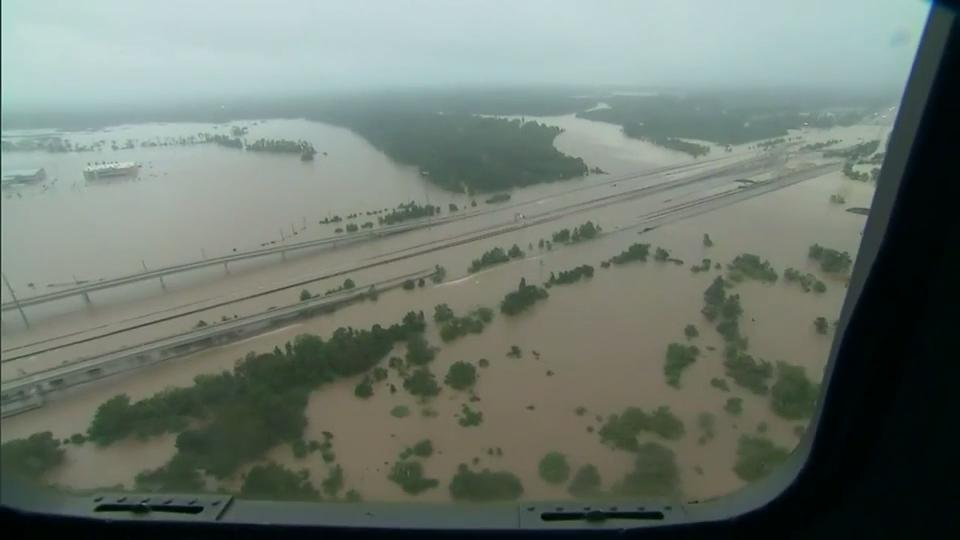 Video: Aerial footage shows dramatic flooding in Houston area