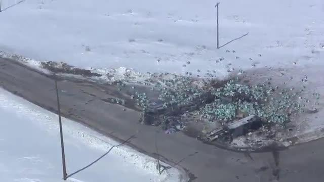 view of Saskatchewan bus crash that left 15 dead
